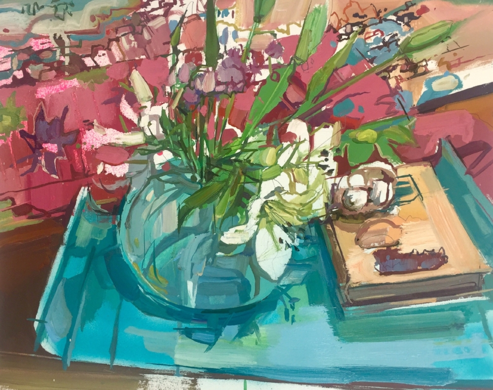 Lilies (still life) , 2018, oil on paper, 18 x 22 inches, $1550. (framed)