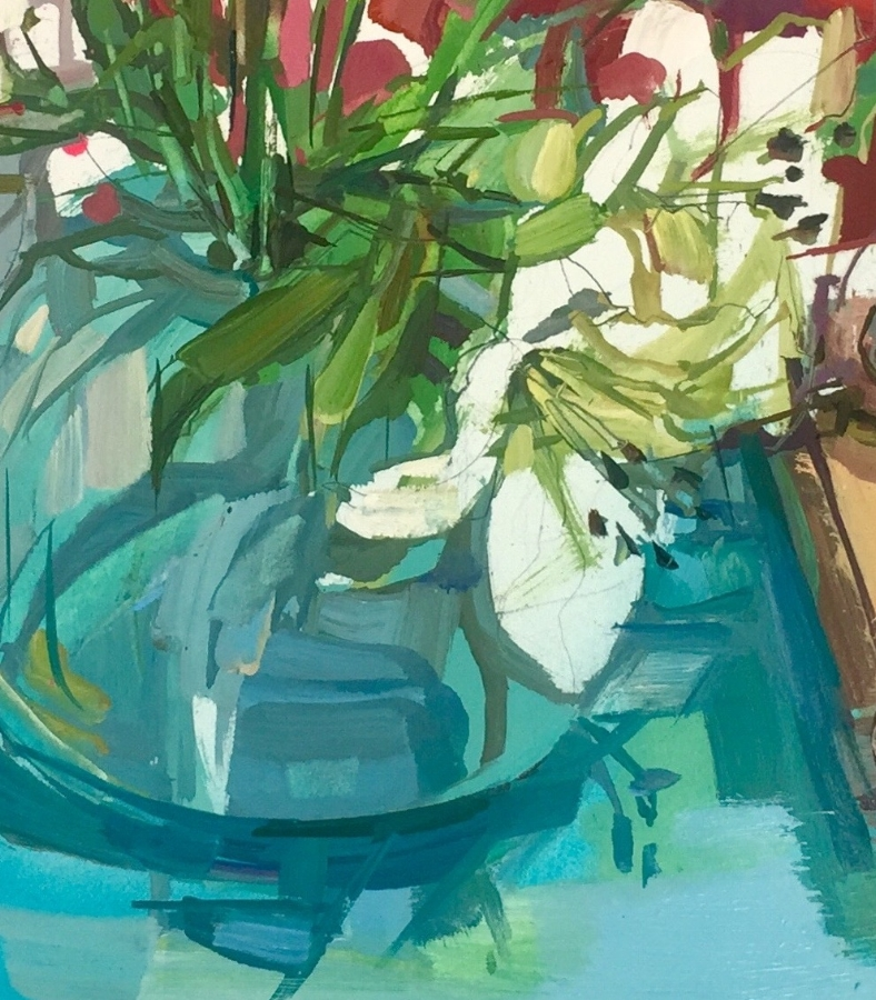 Lilies (still life)  (detail), 2018, oil on paper, 18 x 22 inches, $1550. (framed)