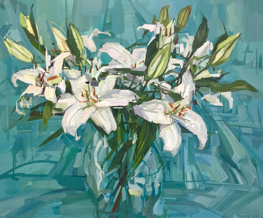 White Lilies , 2018, oil on linen, 20 x 24 inches, $3600.