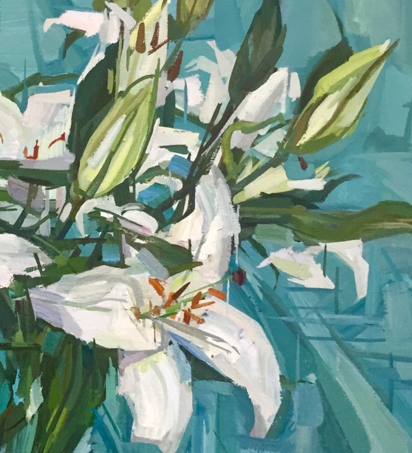 White Lilies  (detail), 2018, oil on linen, 20 x 24 inches, $3600.