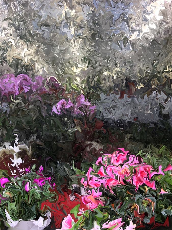 Gary Cruz,  Azalea and Orchid,  2018, dye sublimation print on aluminum (photograph), 53.33 x 40 inches edition 1/3, $4500.  also available as archival digital print on hot press paper, 26.6 x 20 inches (image size), 30.6 x 24 (paper size), edition of 7, $1200. (unframed)
