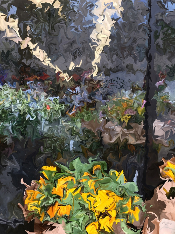 Gary Cruz,  Sunflowers , 2018, dye sublimation on aluminum (photograph), 53.33 x 40 inches, edition 1/3, $4500.  also available as archival digital print on hot press paper, 26.6 x 20 inches (image size), 30.6 x 24 (paper size), edition of 7, $1200. (unframed)