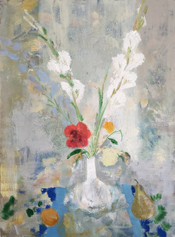 Melanie Parke,  Gladiola Milk , 2018, oil on canvas, 40 x 30 inches, $4600.