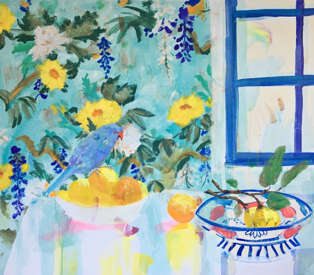 Melanie Parke,  Quince Bowl , 2018, acrylic on canvas, 35 x 40 inches, $4900.