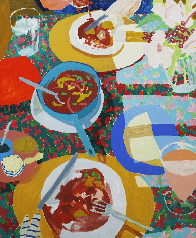 Sophie Treppendahl,  Oaxaca Breakfast , 2018, oil on panel, 36 x 30 inches, $3000.
