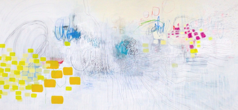 PLAY , 2018, mixed media on canvas, 44 x 88 inches, $10,000.
