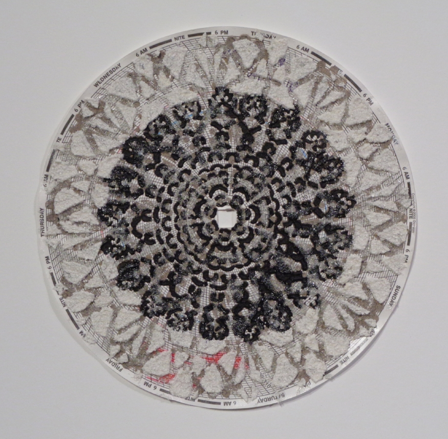 Graph Mandala 003 , 2018, eggshell, wood ash, glass beads on hygrothermograph paper, 12 x 12 inches (framed), $450. (framed)