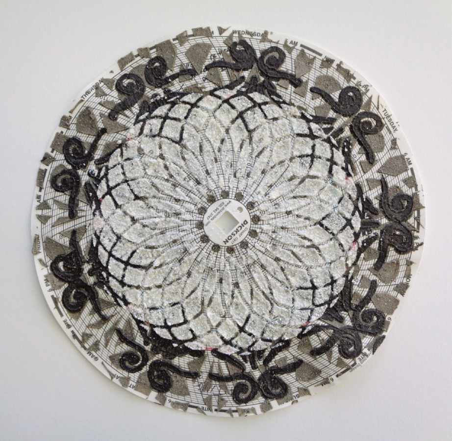 Graph Mandala 006 (black white center) , 2018, eggshell, wood ash, glass beads on hygrothermograph paper, 12 x 12 inches (framed), $450. (framed)