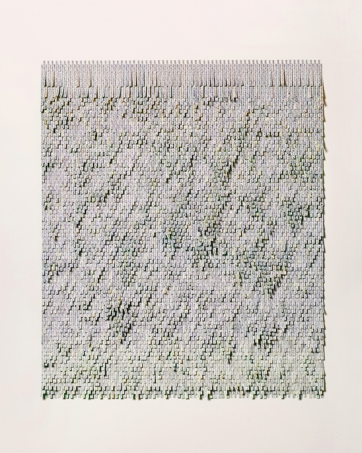 Meg Hitchcock,  Green Tara , 2018, typed words on acrylic and tea-stained paper mounted on paper, 30 x 23 inches (unframed), 35 x 28 inches (framed), $8200. (framed) (sold)
