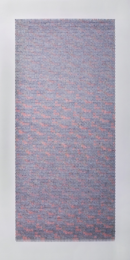 Meg Hitchcock,  Virgin , 2018, typed words and paint on paper mounted on paper, 47.25 x 23 inches (unframed), 52.125 x 27.75 inches (framed), $9500. (framed)