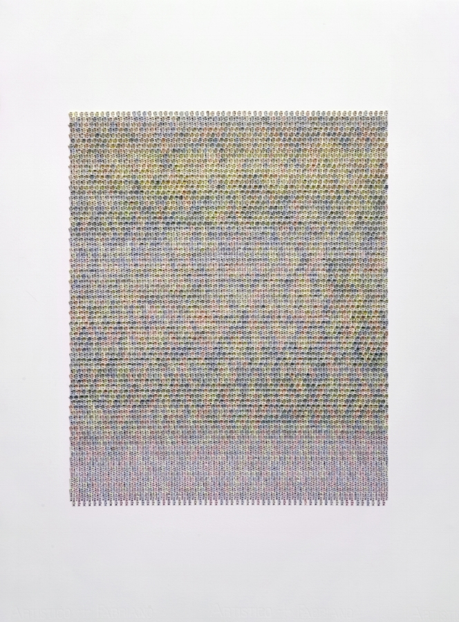Meg Hitchcock,  Cicada , 2018, typed words and paint on paper mounted on paper, 30.5 x 22 inches (unframed), 35.5 x 27.13 inches (framed), $8200. (framed)