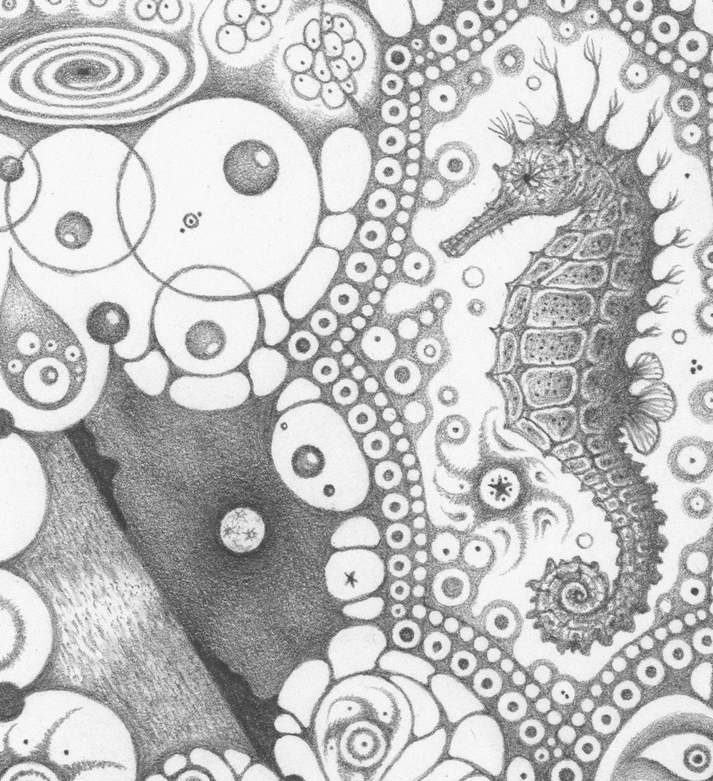 "Michiyo Ihara,  Snowflakes #126 ""Mermaid Dream""  (detail), 2015, graphite on paper (hand-drawn), 10.25 x 10.25 inches (unframed), 12 x 12 inches (framed), $1000. (framed)"