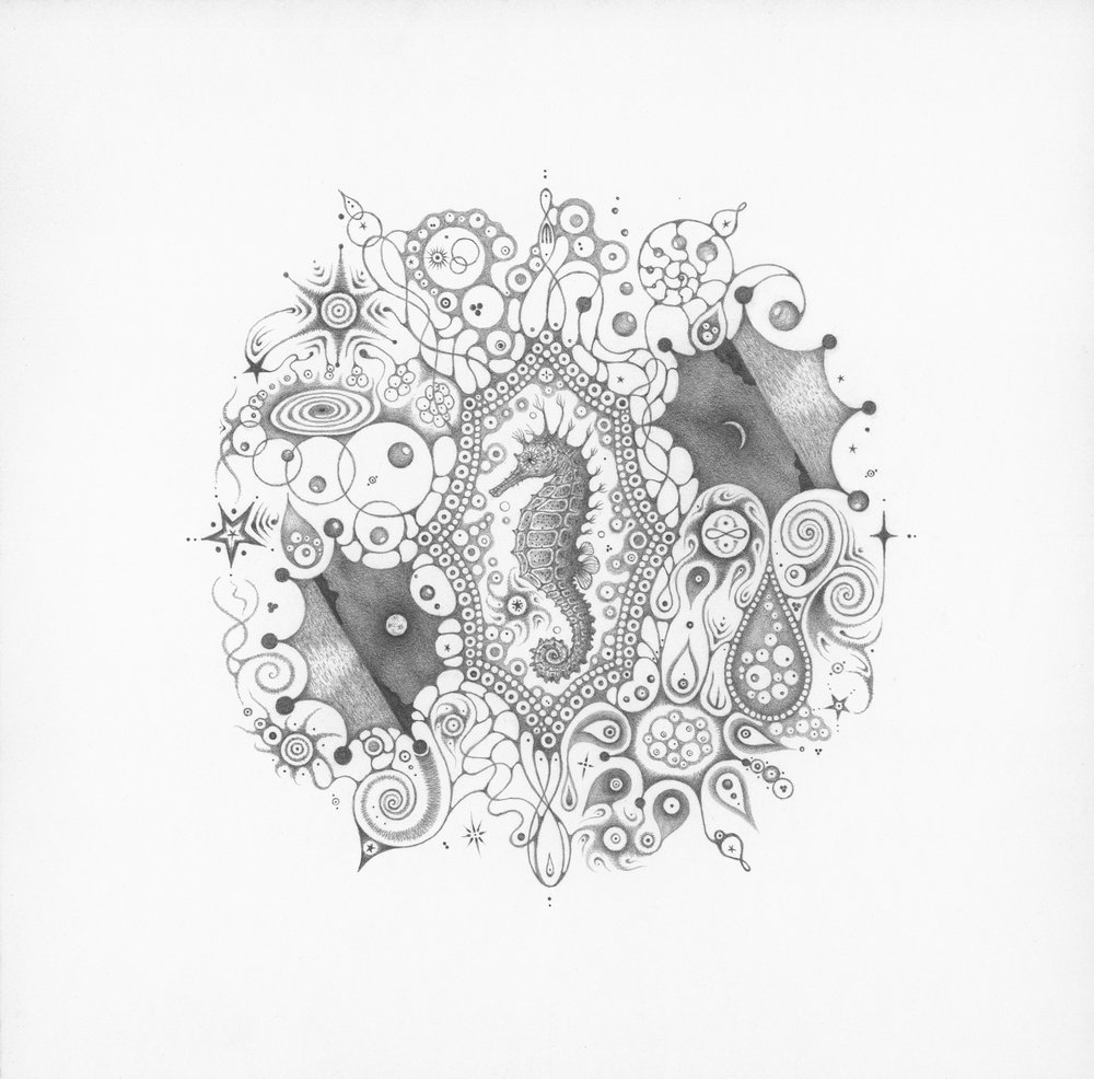 """Snowflakes #126 """"Mermaid Dream,""""  2015, graphite on paper (hand-drawn), 10.25 x 10.25 inches (unframed), 12 x 12 inches (framed), $1000. (framed)"""