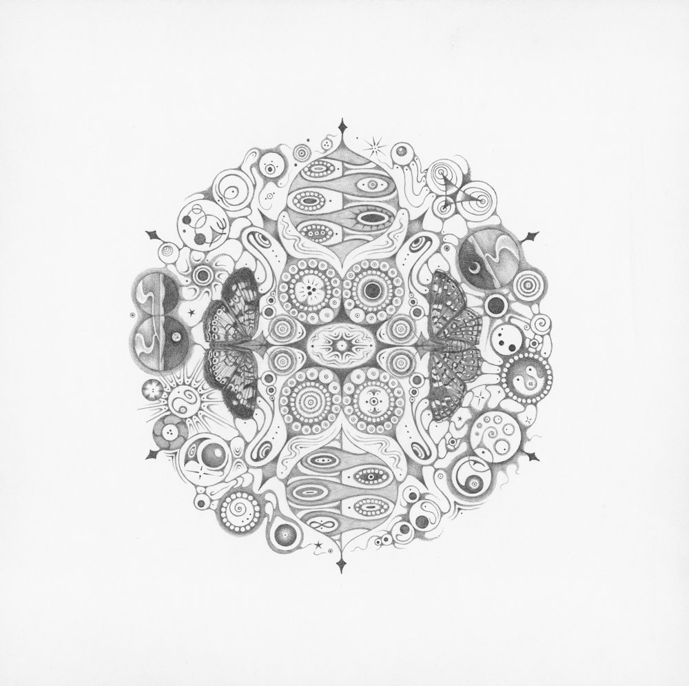 """Snowflakes #146 """"Joy,""""  2016, graphite on paper (hand-drawn), 10.25 x 10.25 inches (unframed), 12 x 12 inches (framed), $1000. (framed)"""