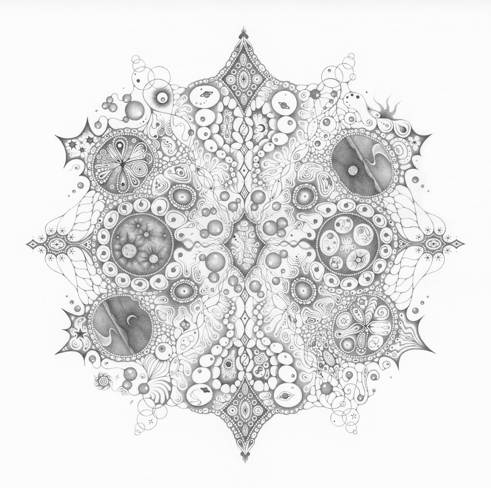 """Snowflakes #125 """"Oneness , """"  2015, graphite on paper (hand-drawn), 22.25 x 22.25 inches (unframed), 25.25 x 25.25 inches (framed), $5000. (framed)"""