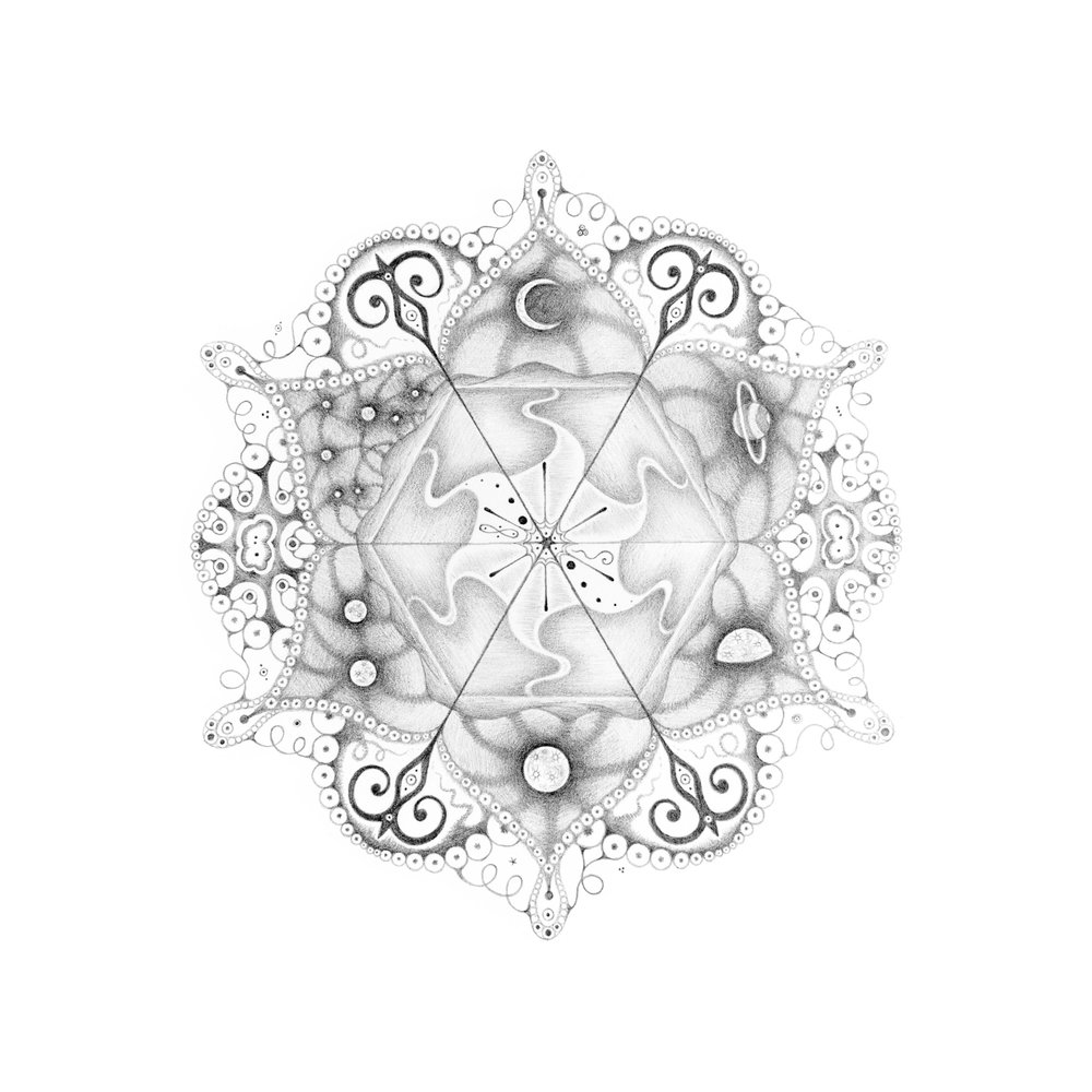 """Snowflakes #108 """"Matrix,""""  2013, graphite on paper (hand-drawn), 10.25 x 10.25 inches (unframed), 12 x 12 inches (framed), $1000. (framed)"""