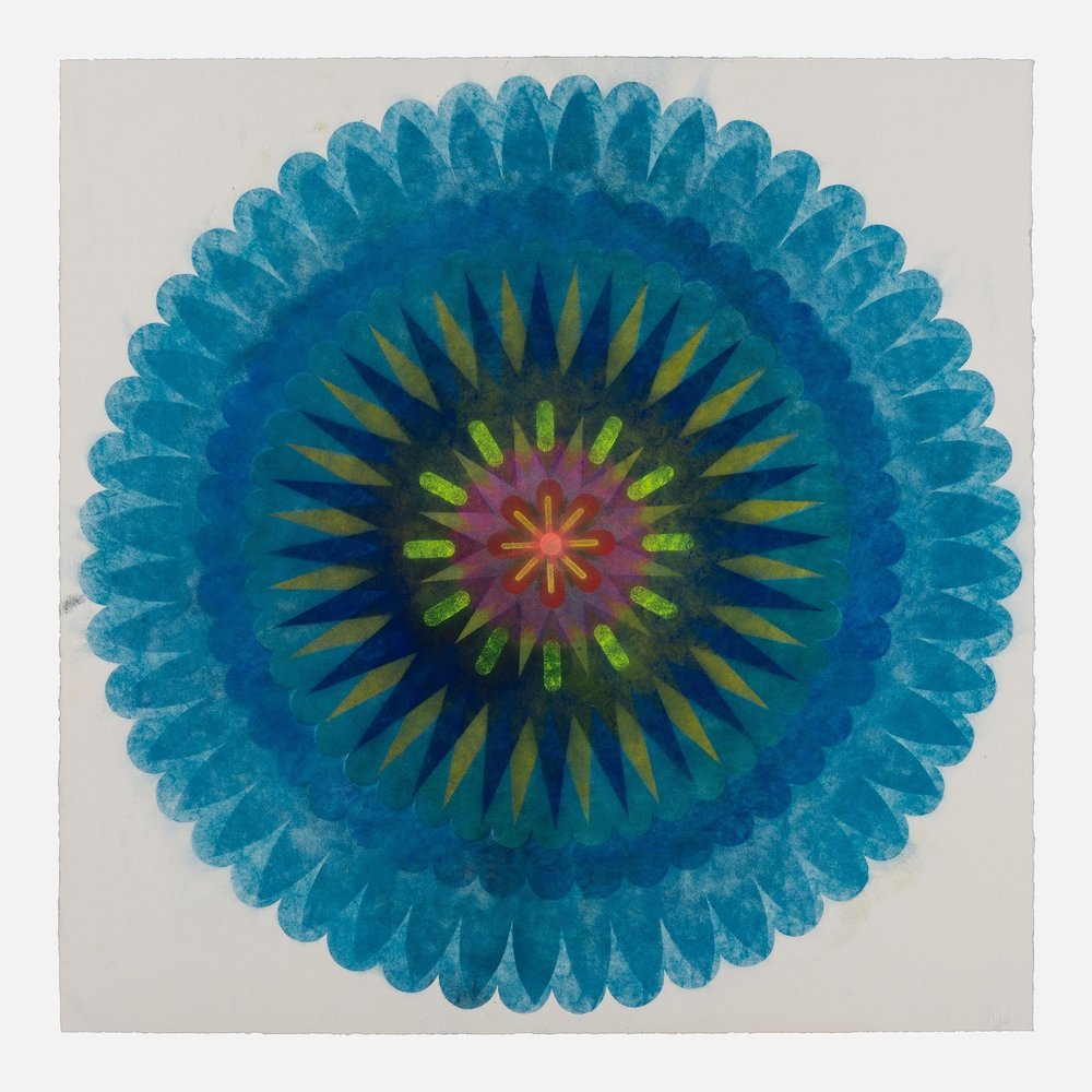 Pop Flower 70b , 2018, powdered pigment on paper, 30 x 30 inches (unframed), $3900. (unframed)