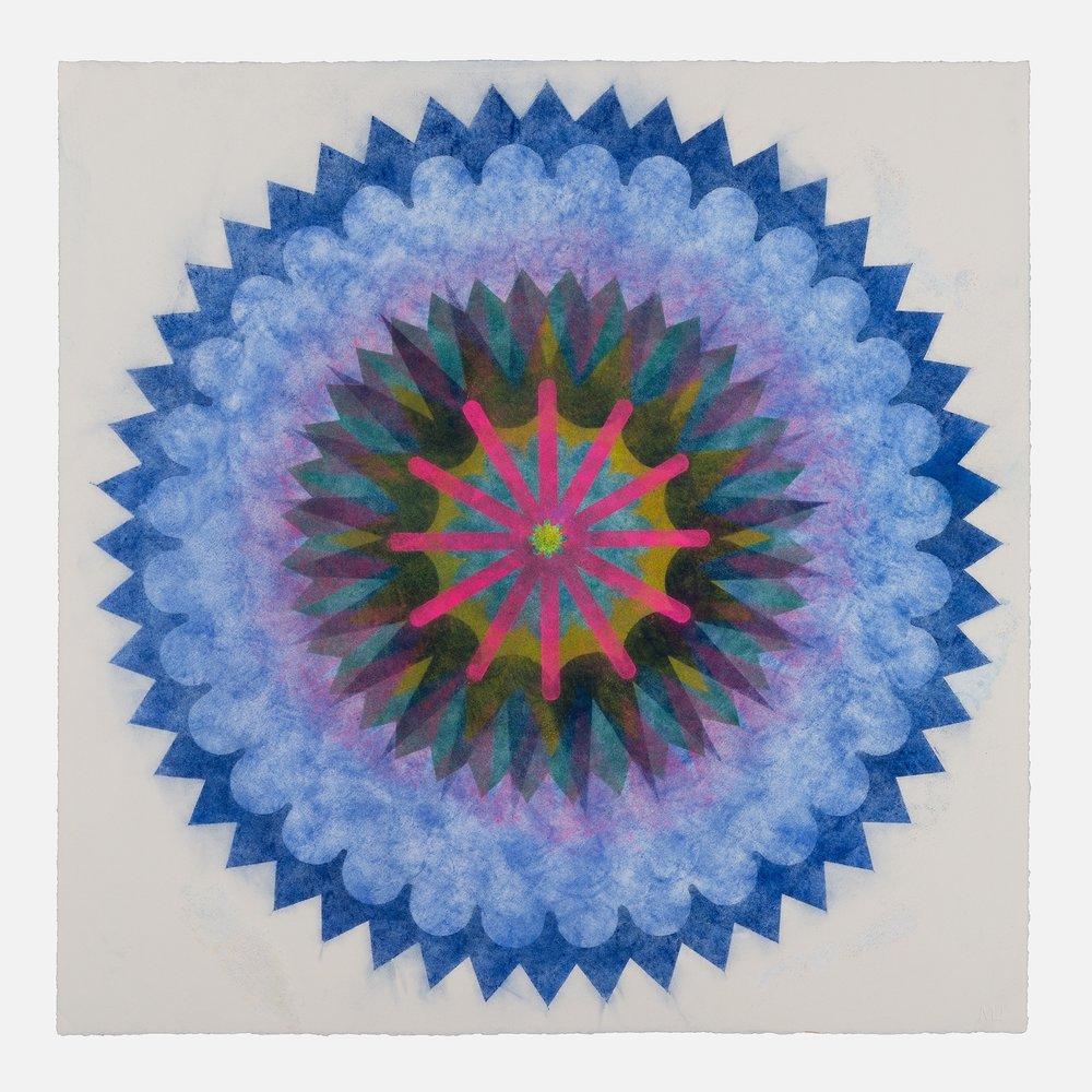 Pop Flower 72b , 2018, powdered pigment on paper, 30 x 30 inches (unframed), $3900. (unframed), 33.75 x 33.75 inches (framed), $4300. (framed)