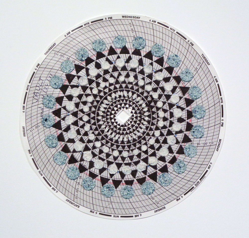 Eleanor White,  Graph Mandala 012 , 2018, wood ash, chicken eggshell, emu eggshell, polymer medium on hygrothermograph paper, 12 x 12 inches (framed), $450. (framed) (sold)