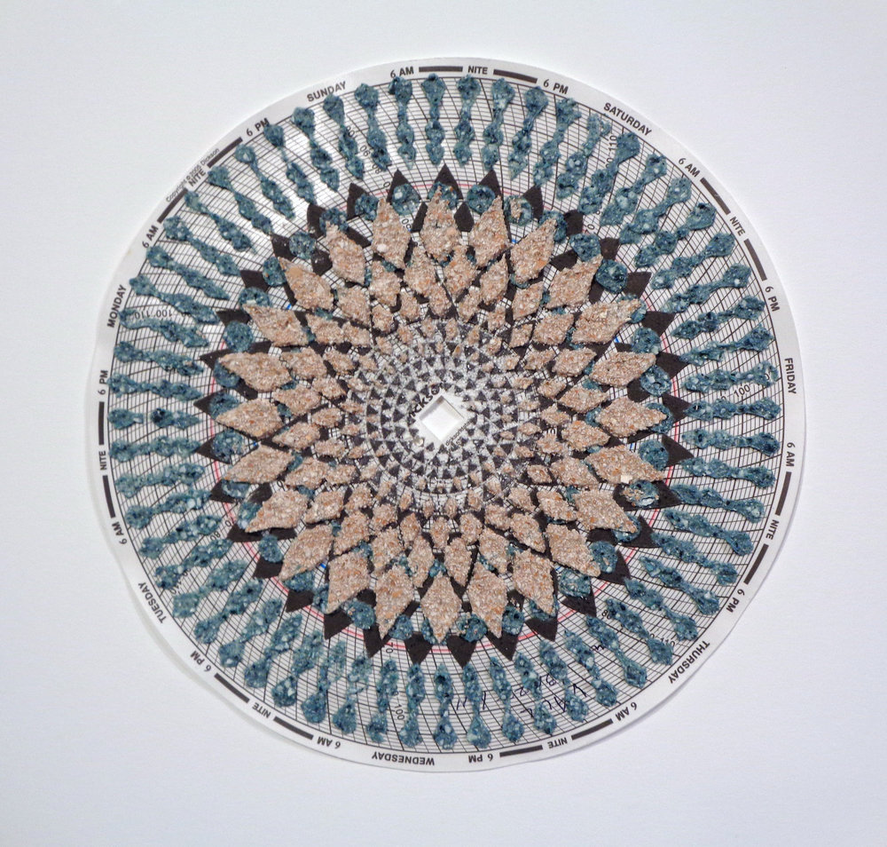 Eleanor White,  Graph Mandala 013 , 2018, wood ash, chicken eggshell, emu eggshell, polymer medium on hygrothermograph paper, 12 x 12 inches (framed), $450. (framed)