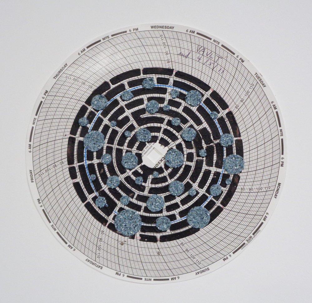 Graph Mandala 008 , 2018, wood ash, chicken eggshell, emu eggshell, polymer medium on hygrothermograph paper, 12 x 12 inches (framed), $450. (framed)
