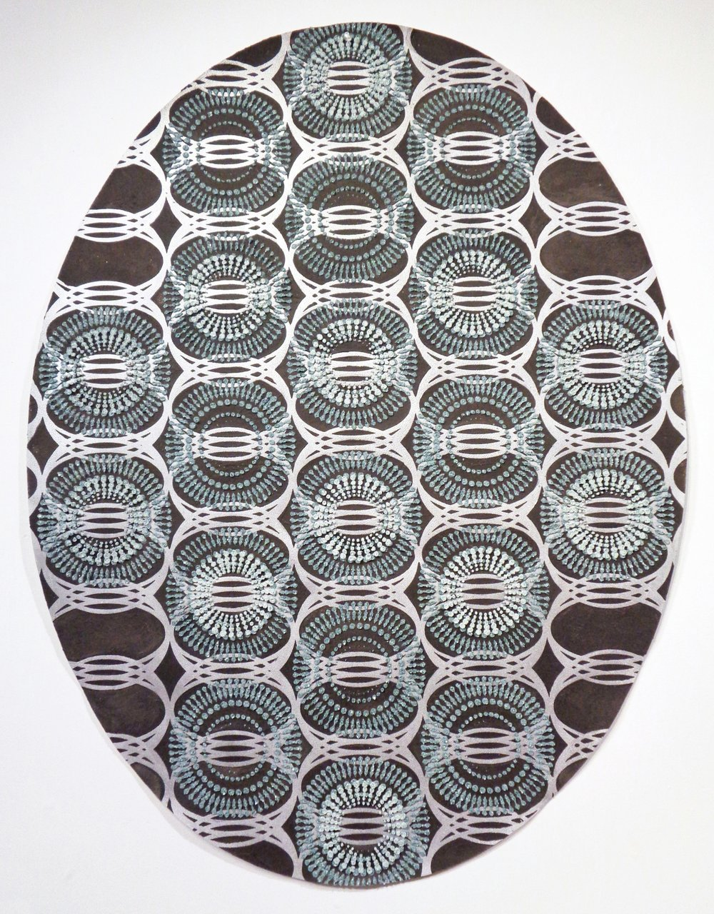 Eleanor White,  Untitled (large oval) , 2018, wood ash, chicken eggshell, emu eggshell, polymer medium on painted paper, 50 x 38.5 inches (unframed), 53.5 x 42 inches (framed), $8000. (framed)