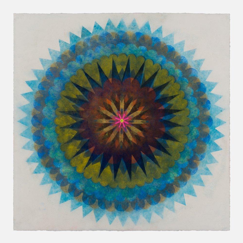 Pop Flower 61 , 2018, powdered pigment on paper, 30 x 30 inches (unframed), $3900. (unframed)