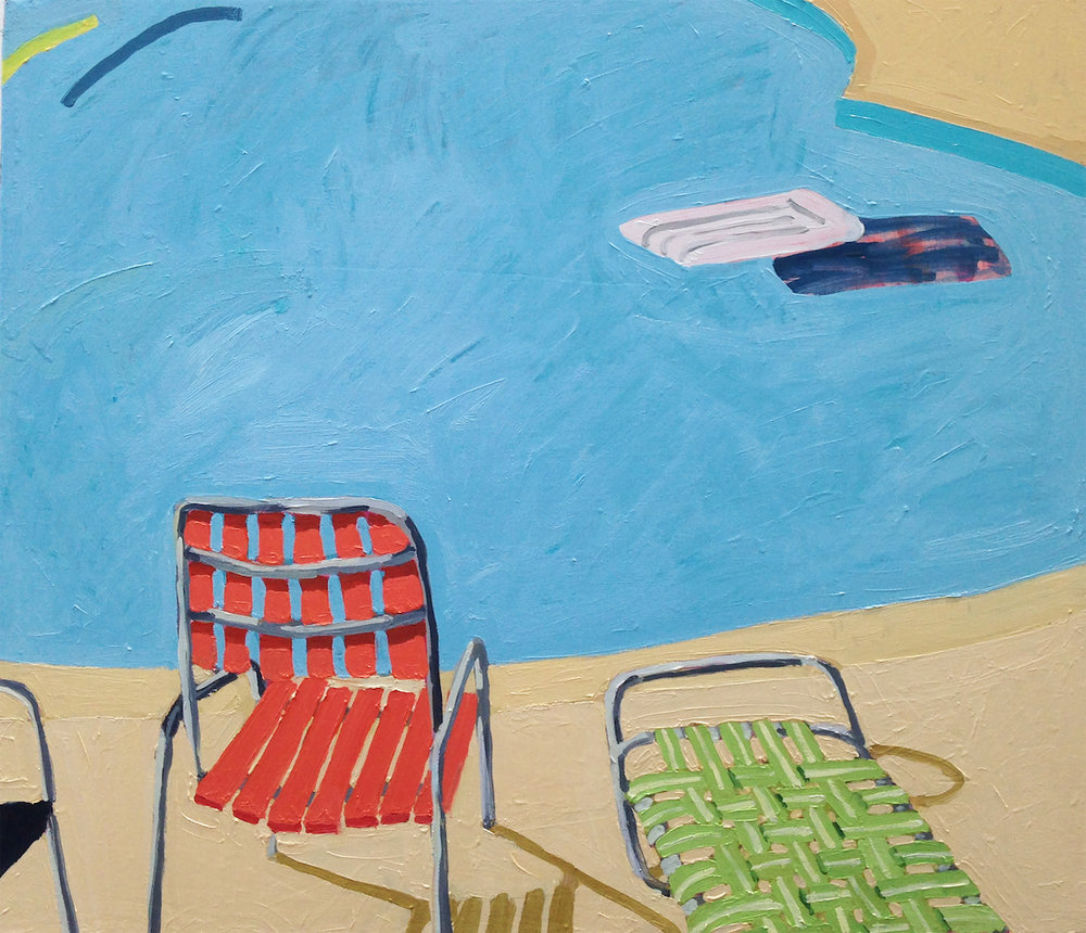 Pool Chairs, raft and a yellow noodle , 2018, oil on canvas, 26 x 30 inches, $2200.