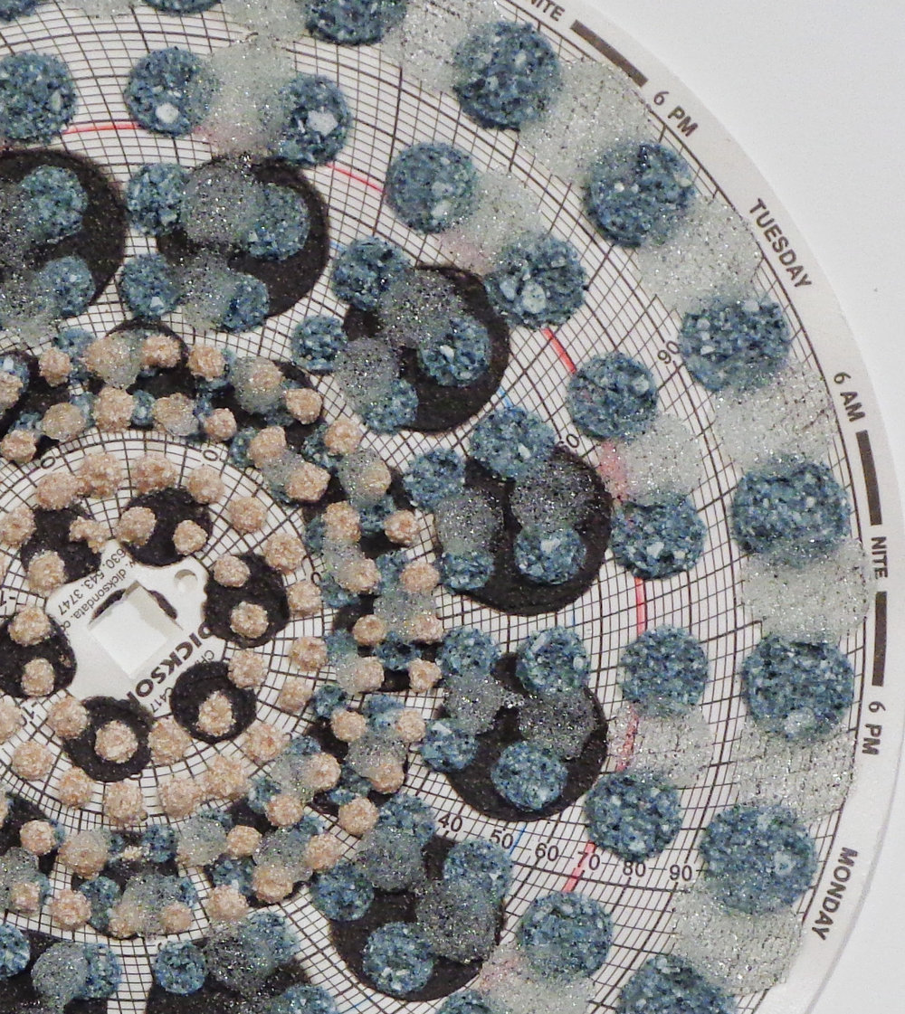 Eleanor White,  Graph Mandala 007  (detail), 2018, wood ash, chicken eggshell, emu eggshell, glass beads, polymer medium on hygrothermograph paper, 12 x 12 inches (framed), $450. (framed)