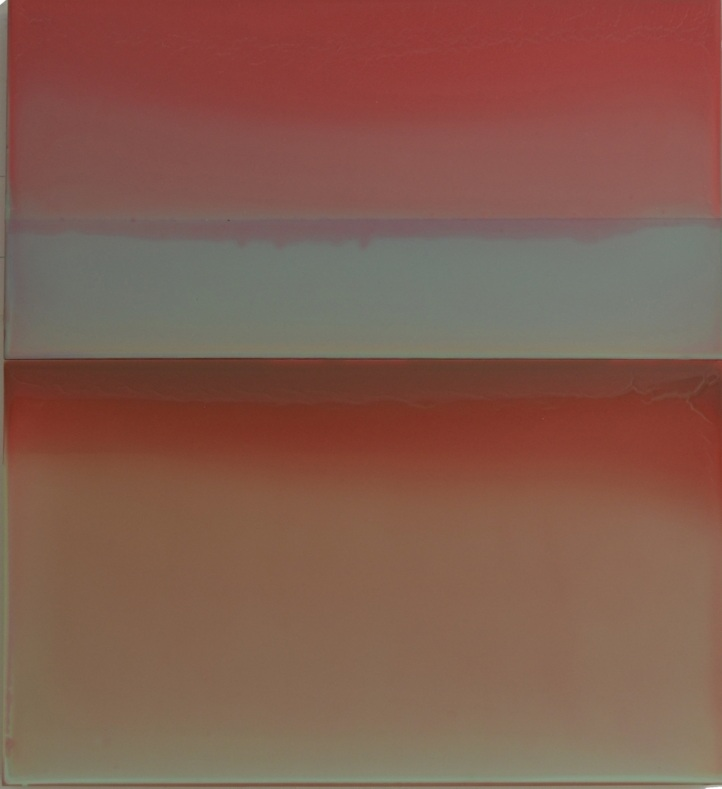 Red Sky at Night , 2017, tinted polymer on panel, 25.75 x 23.5 x 2 inches, $3400.