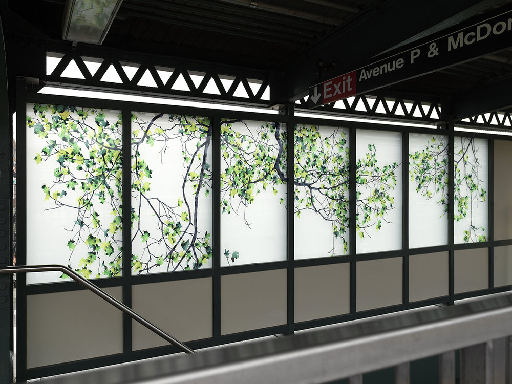 MTA Arts & Design permanent public commission, Avenue P, Brooklyn, NY (installation view),  Maple , 2018, laminated glass Fabrication: Depp Glass, Long Island City Photo credit: Dario Lasagni