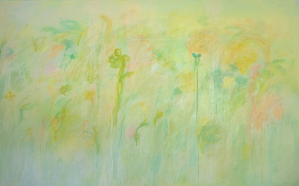 Garden , 2018, casein and pigment on muslin mounted on panel, 46 x 74 x 2.5 inches, $11,000.