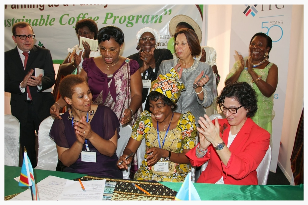 Chantal Binwa signing the IWCA Letter of Understanding in Bujumbura, Burundi