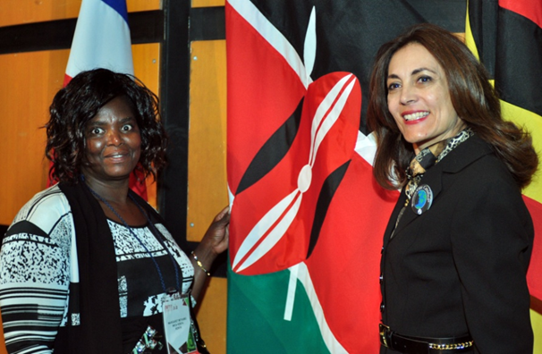 Margaret Mithamo (left) pictured with IWCA President Mery Santos