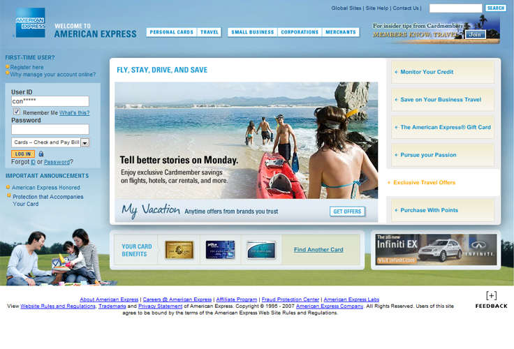 American Express Website 2010 - click to enlarge
