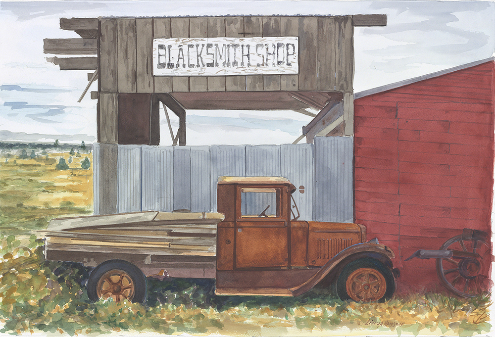 Red Truck & BlackSmith Shop Shaniko, Oregon  27 x 34