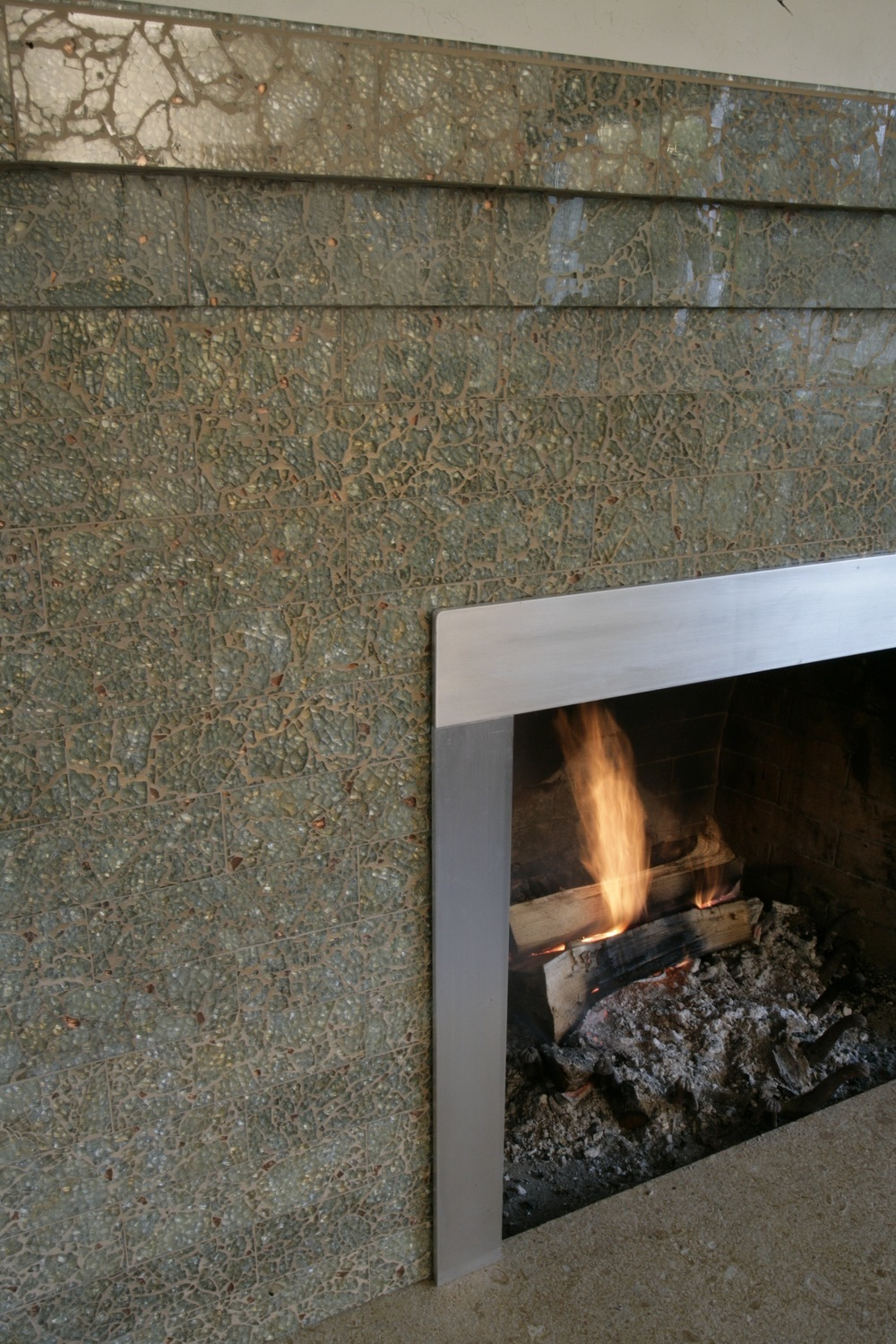 """Metallic Buttercream"" Brick Fireplace"