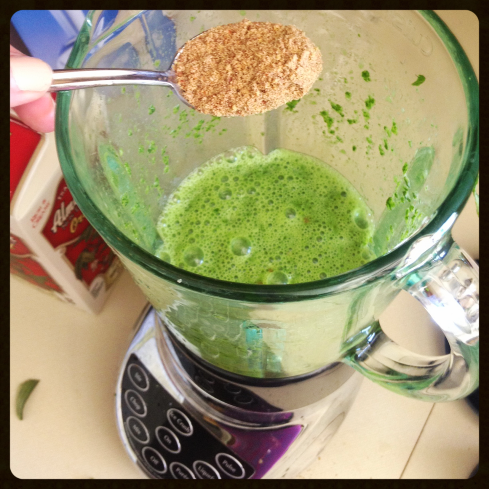 Kale and almond milk - add ground flaxseed.