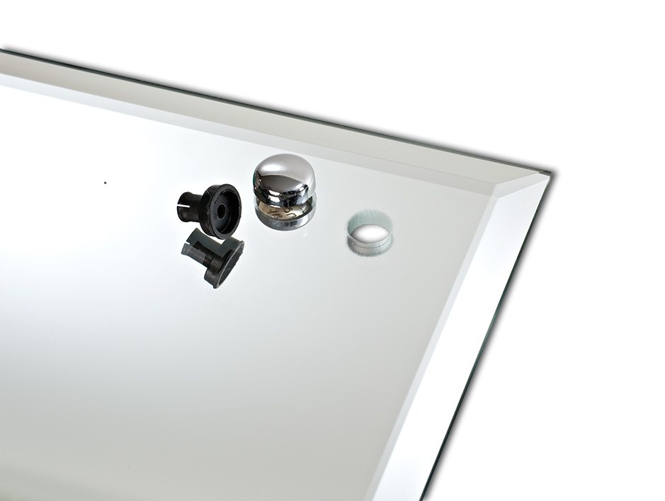 Chrome electroplated snap and black mirror grommet