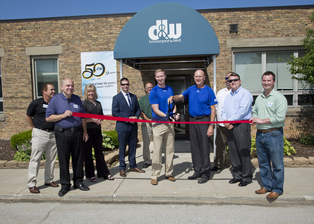 Members of the Elkhart Chamber of Commerce helped to Support D&W and their 50th Anniversary Ribbon Cutting Ceremony