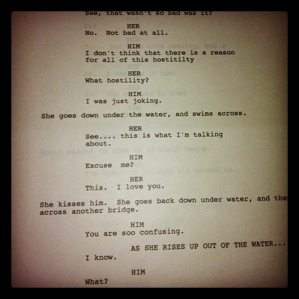 Page from a script of mine (Taken with  instagram )