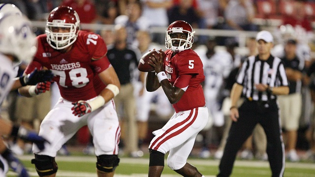 Hoosier QB Tre Roberson drops back for a pass against Indiana State
