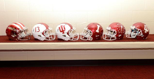The six helmets that Indiana Football will be sporting for 2013