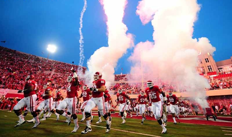 The Hoosiers storming the field pregame