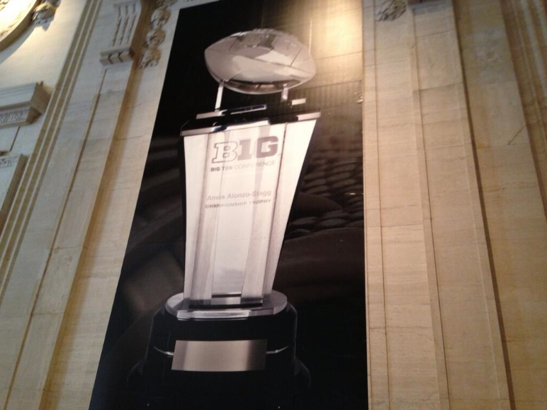 Outside of the Grand Ballroom at Big Ten Media Days in Chicago