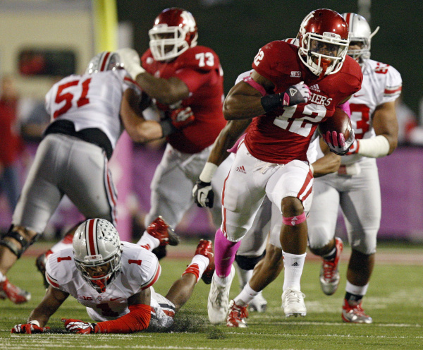 Hoosier running back Stephen Houston breaks free against the Buckeyes.