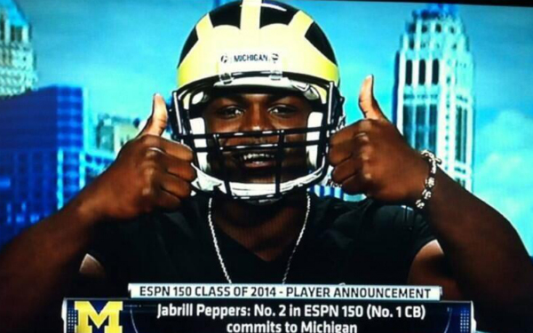 A consensus top-5 player in the nation, Jabrill Peppers showed off his personality by rocking the winged helmet when he committed to Michigan.