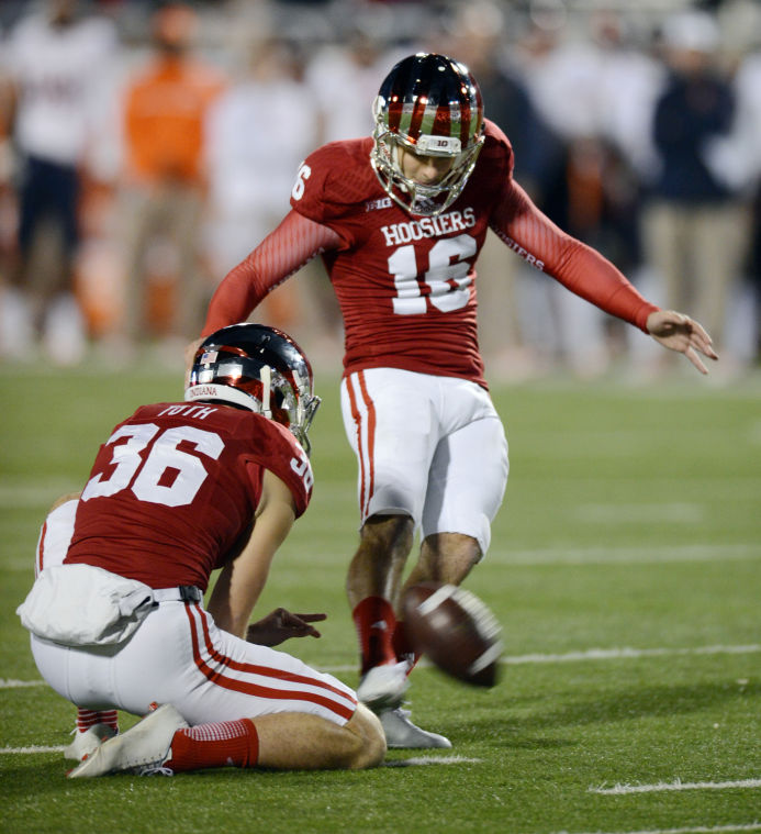 Erich Toth (36) serves as the punter and holder for the Hoosiers