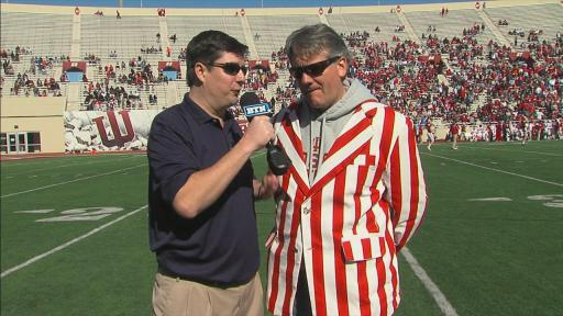 Athletic Director Fred Glass sports the candy striped jacket at the 2013 Spring Game