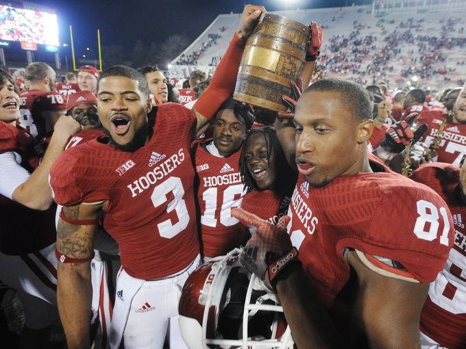 The Hoosiers won possession of the Old Oaken Bucket after demolishing Purdue 56-36